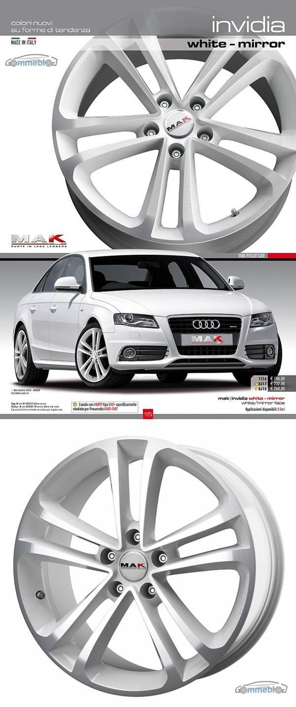 Cerchi in lega Mak Invidia white mirror su Audi A4 s-line