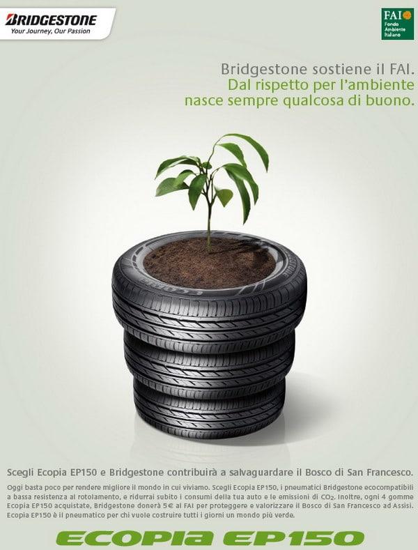 """I pneumatici Bridgestone Ecopia EP150 sostengono il progetto """"Bosco di San Francesco""""."""