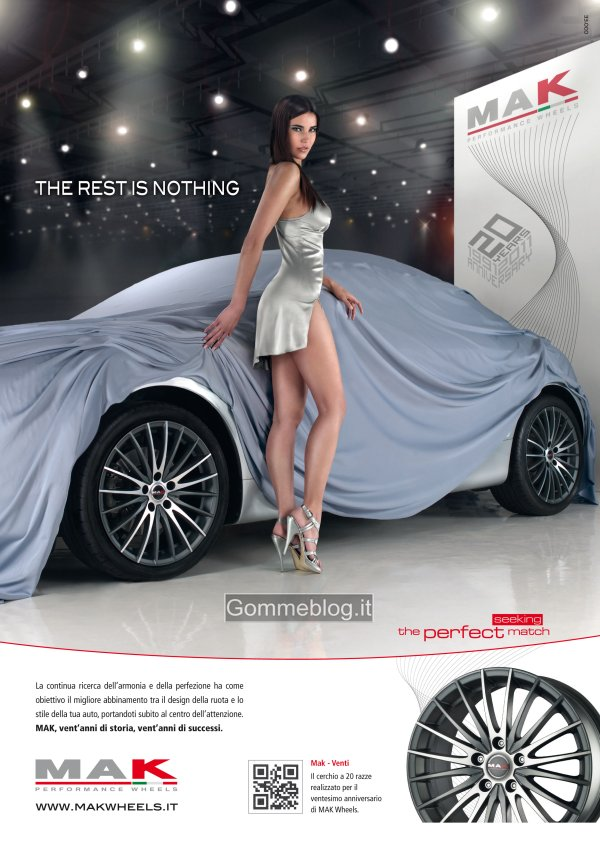 """Nuova campagna Mak: una stupenda modella, un'auto """"coperta"""" e cerchi in lega …"""