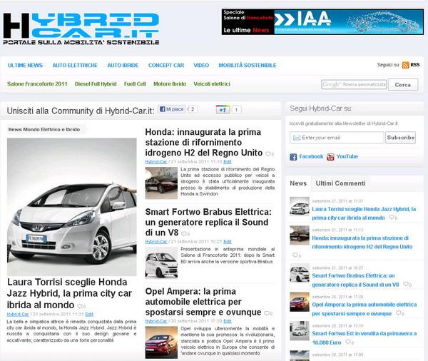 Hybrid-Car.it: online il nuovo portale dedicato alle Auto Elettriche ed Ibride