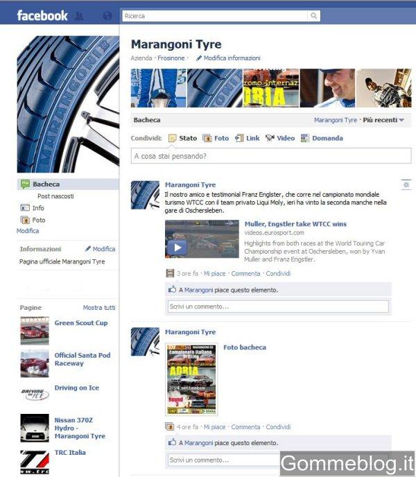 Marangoni Pneumatici: nuova pagina Facebook e canale Youtube
