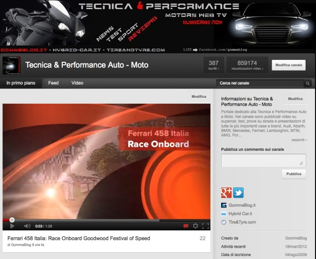 "Auto Moto WEB TV: Online il canale Youtube ""Tecnica e Performance"""