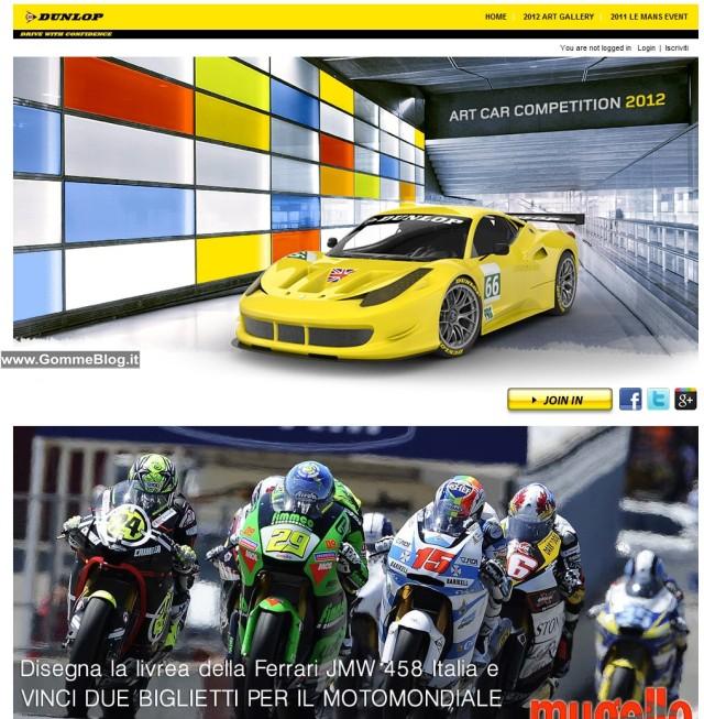 Disegna la livrea Dunlop per la JMW Ferrari 458 e vinci il MotoGP