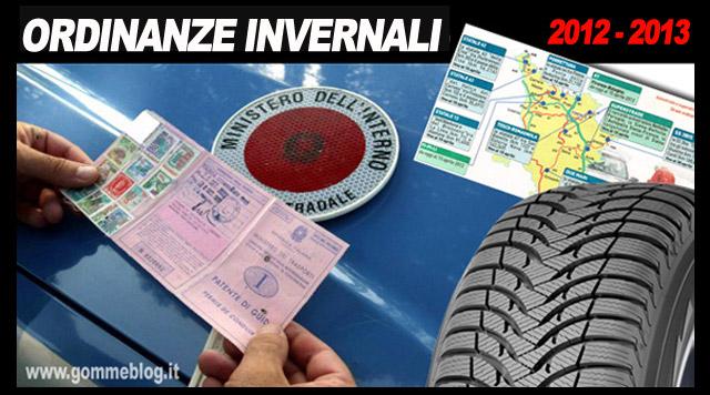 Ordinanze Pneumatici Invernali: Aggiornamento 4 Dicembre 2012