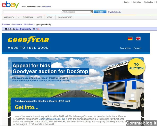 Camion in LEGO Goodyear: tutto pronto per l'asta di beneficenza su eBay