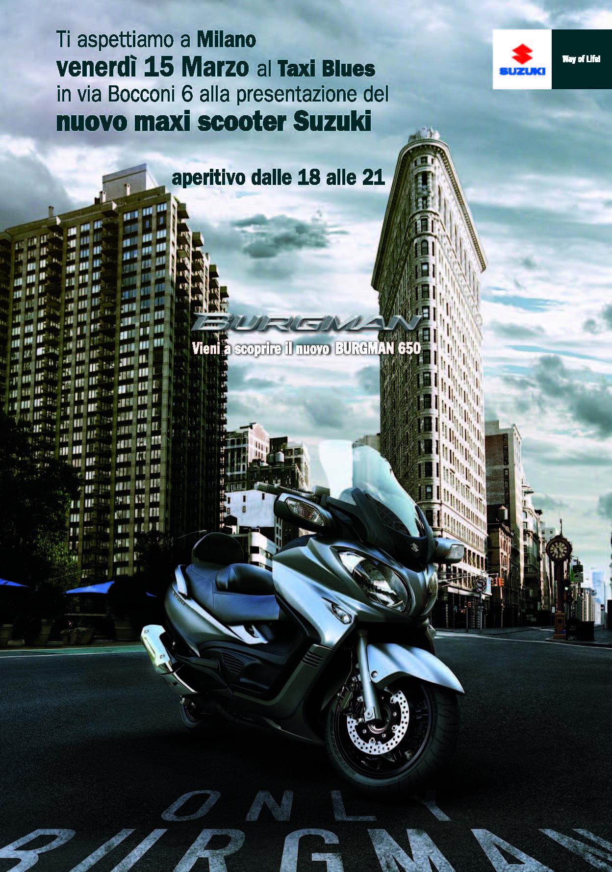 Suzuki presenta il 15 marzo il nuovo maxi scooter Burgman 650 al Taxi Blues