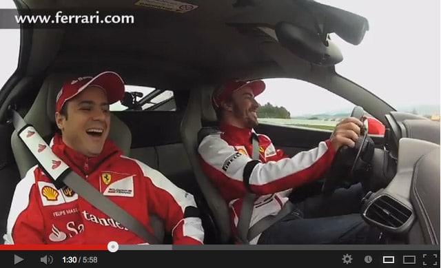 Alonso e Massa: Spettacolo e Divertimento su Ferrari 458 Italia [VIDEO]