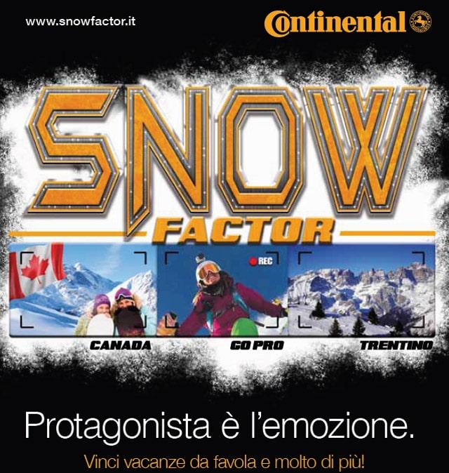 """Pnaumatici Invernali Continental: al via la promozione """"Snow Factor"""""""
