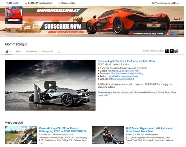 Gommeblog.it: 20 Milioni di visite sul Canale YouTube