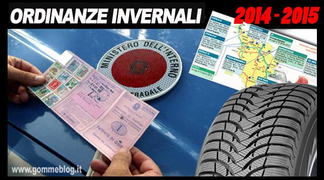 Ordinanze Invernali 2014 – 2015: TUTTE LE REGIONI