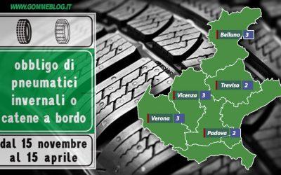 Ordinanze Pneumatici Invernali 2017: VENETO